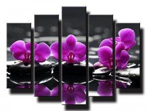 5 dielny obraz na stenu feng shui orchidea na kameňoch