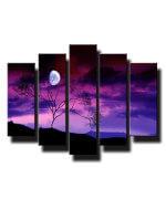 5 dielny obraz na stenu mesiac v noci