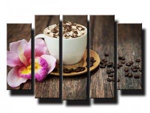 5 dielny obraz na stenu šálka kávy s orchideou